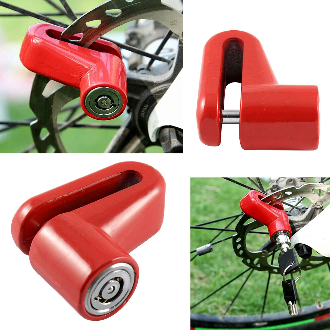 CAR-partment Good Quality Motorcycle Bicycle Sturdy Wheel Disc Brake Lock Security Anti Thief Alarm Disk Disc Brake Rotor Lock