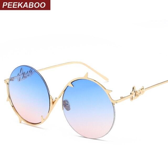 Peekaboo marca do vintage rodada óculos de sol das mulheres dos homens do  sexo feminino metade f497aacb02