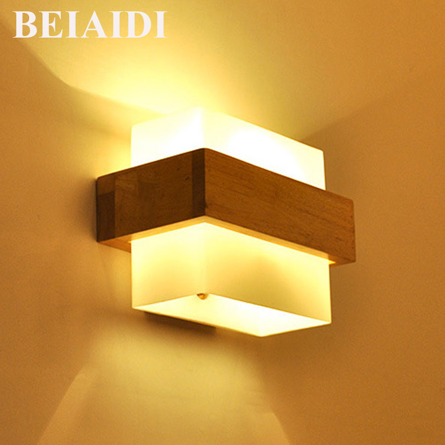 BEIAIDI 3W Modern Wooden Led Wall Light Up Down Frosted Glass Bedroom Bedside Lamp Aisle Corridor Balcony Wall Light Fixtures