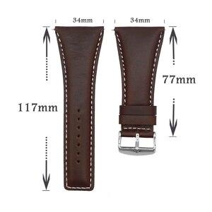 Image 5 - YQI 34 ミリメートルビッグサイズ時計バンド大幅ふくらはぎ本革時計バンド黒茶色の腕時計
