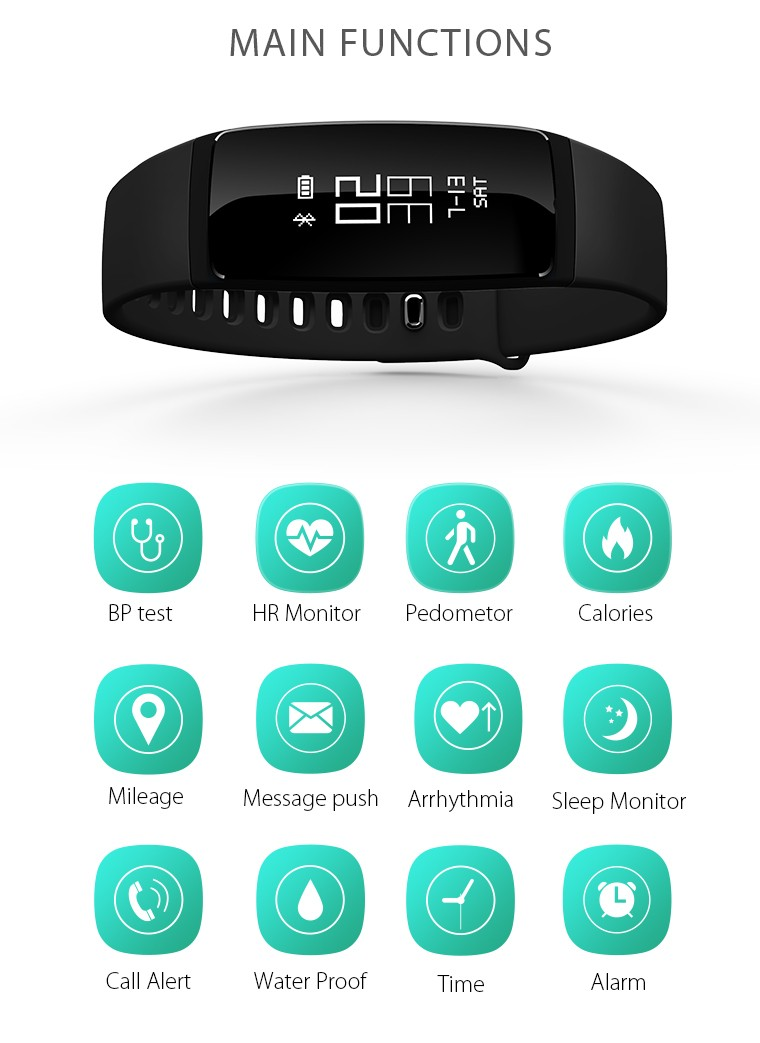 V07 Smart Wristband Band Heart Rate Monitor Blood Pressure Bracelets pedomet Bracelet Fitness Tracker SmartBand For iOS Android 3