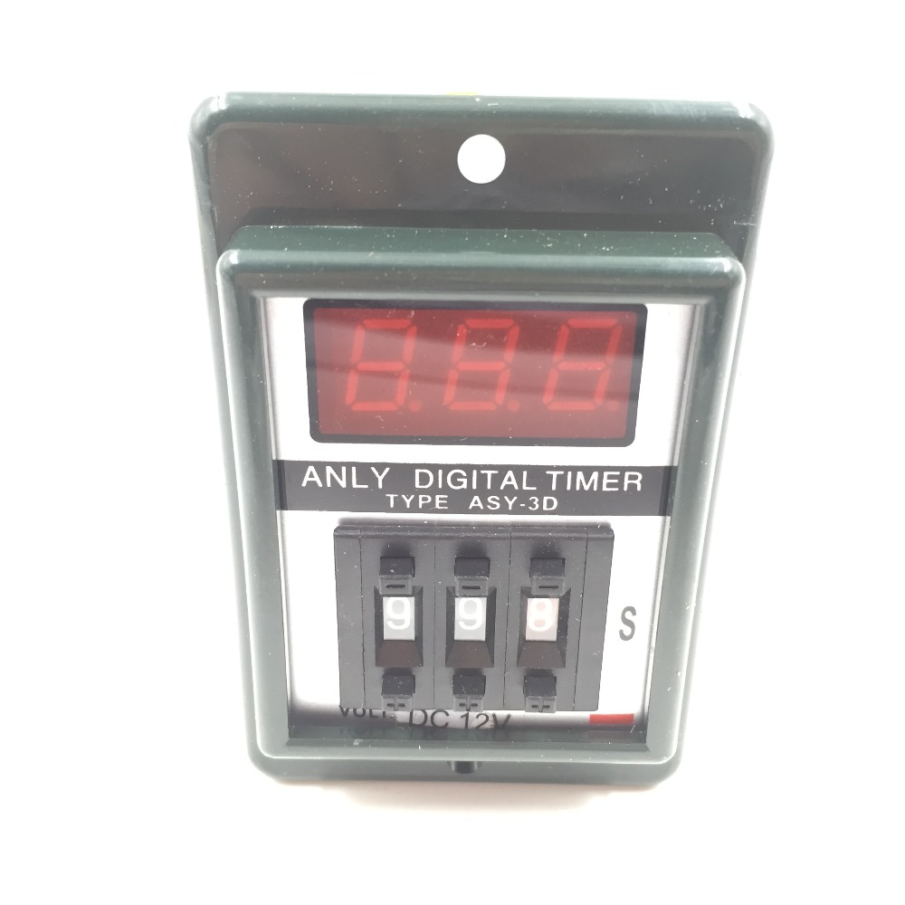 AC/DC 12V 0.1-99.9 Second Digital Timer Time Delay Relay Black 8 Pin ASY-3D dc 12v led display digital delay timer control switch module plc automation new