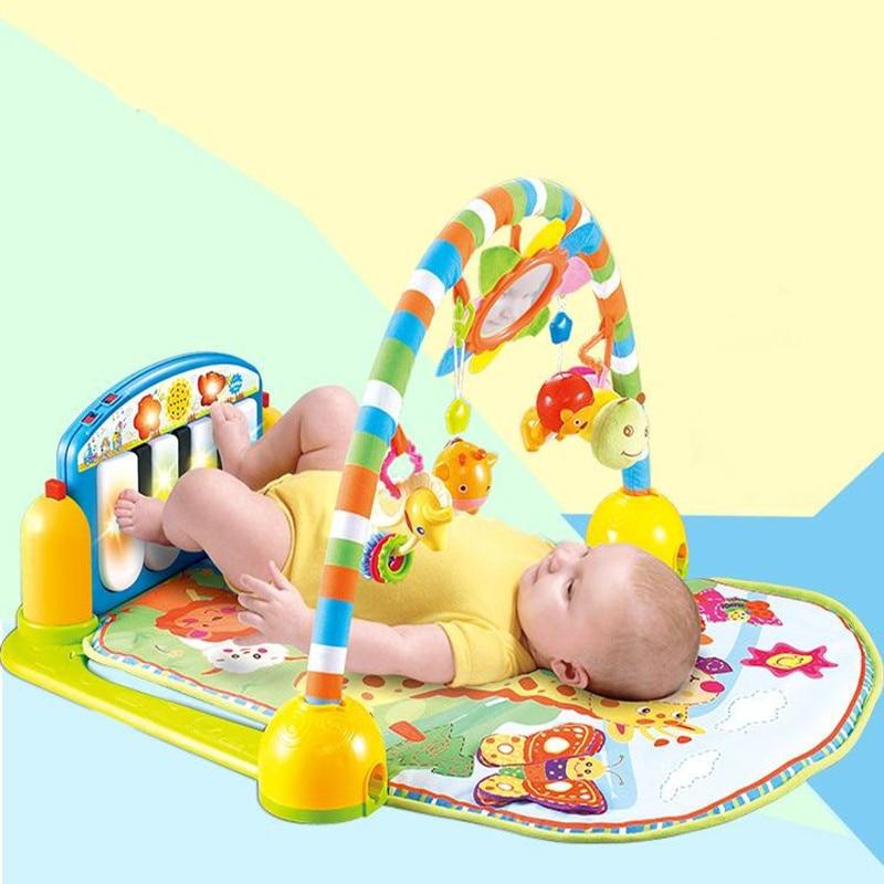 2017 bébé dessin animé berceau jouets bébé filles et garçons cadre de Fitness multifonction pied Piano jeu de musique couverture enfants ramper tapis