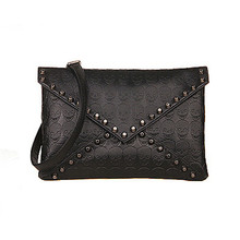 High quality Women Skull Rivets Envelope Design Leather Crossbody Handbag Tote Bags Purse