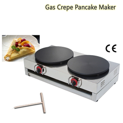 Commercial Double Heads Gas Crepe Griddle Tacos Pancake Machine Omelettes Blinis Maker Nonstick Cooking Surface 15.7 Pans