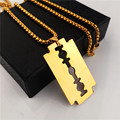 Gold Plated Lovers Jewelry 75cm Long Fox Tail Chain Necklace Fashion Men Hiphop Necklaces Blade Pendant Neckalces Mens