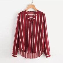 Autumn Women V-Neck Casual Polka Striped Print Full Sleeve Top Blouse top female body slim female цены онлайн