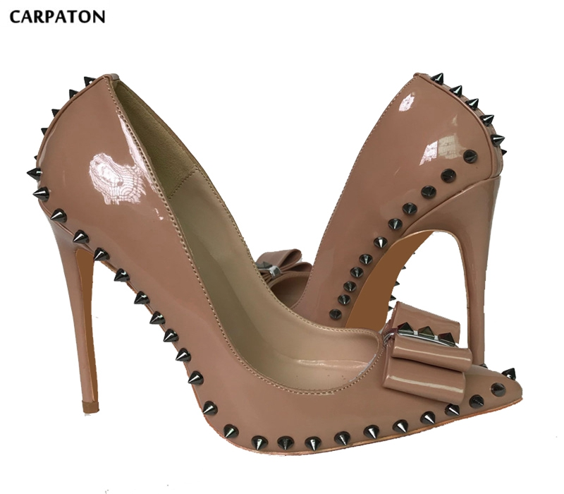 Carpaton Nude Patent Leather Butterfly-knot High Heel Shoes Sexy Pointed Toe Rivets Studded Woman Pumps Big Size Stiletto Heels free shipping newest patent leather sexy women party shoes rivets pointed toe multicolors studded women size 12cm high heels 42
