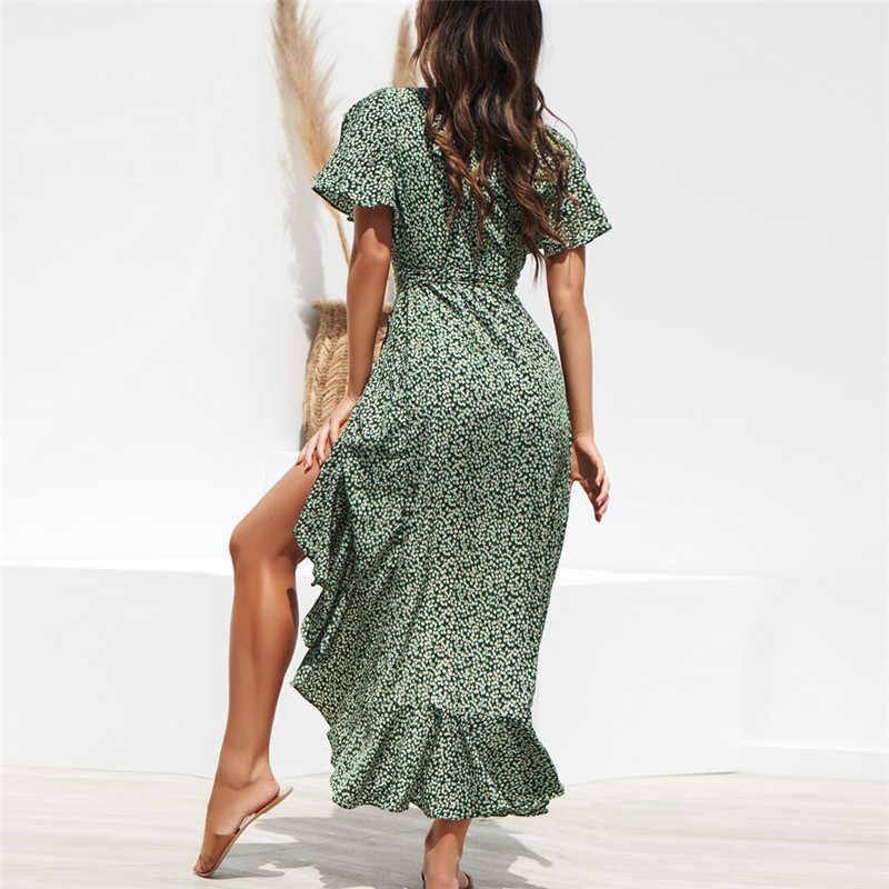 CALOFE ใหม่ผู้หญิงยาวชุดชีฟองฤดูร้อน Boho สไตล์พิมพ์ลายดอกไม้ Maxi Beach ชุดเซ็กซี่ด้านข้างแยกชุดพรรค Sundress vestido
