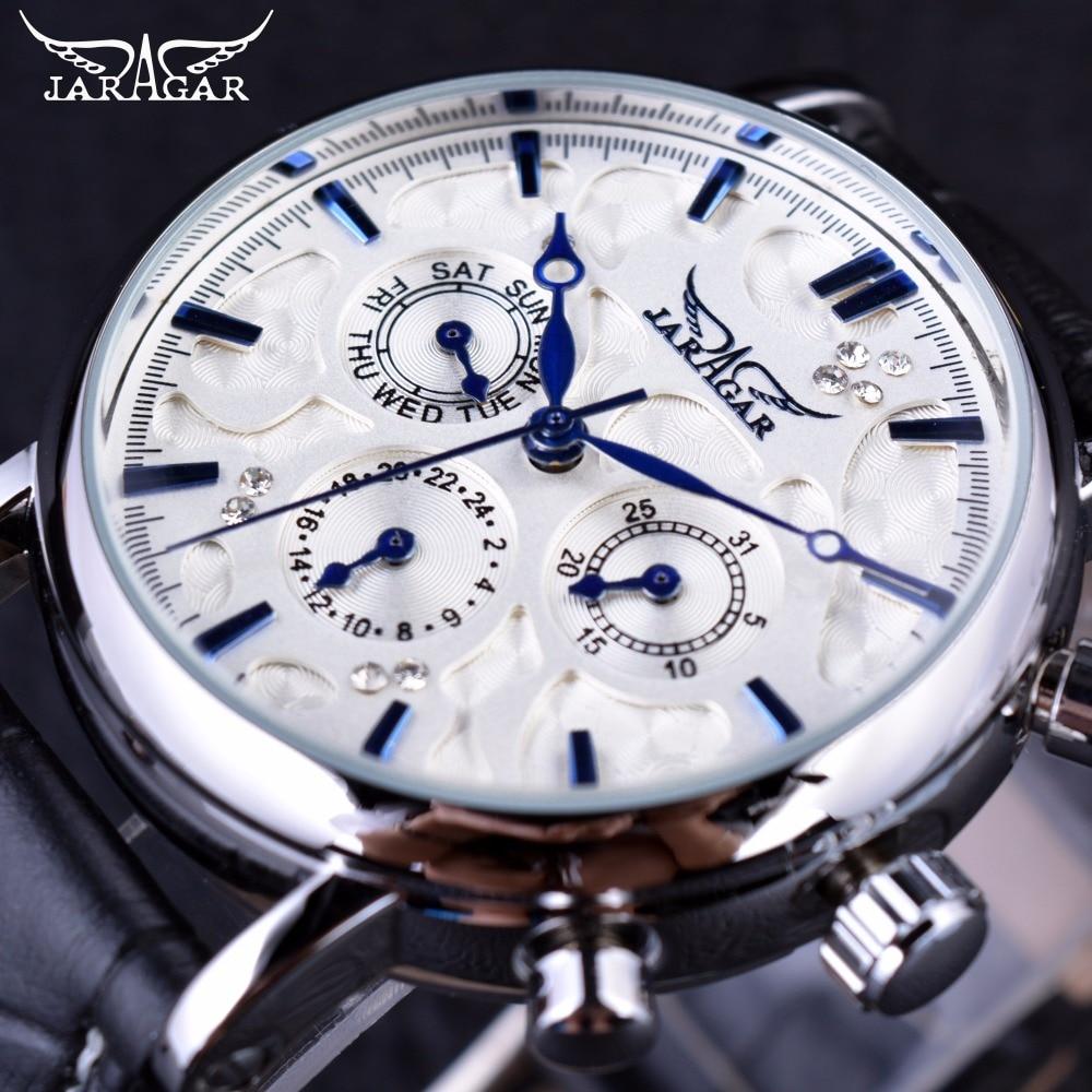 Jaragar Blue Sky Series Elegant Design Genuine Leather Strap Male Wrist Watch Mens Watches Top Brand Luxury Clock Men Automatic