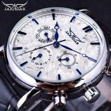 Jaragar Blue Sky Reloj de pulsera para hombre, diseño elegante, correa de cuero genuino, automático