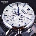 Jaragar Blue Sky Serie Diseño Elegante de Cuero Genuino Correa Masculina de la correa Reloj de Pulsera Para Hombre Relojes de Primeras Marcas de Lujo Reloj Automático de Los Hombres