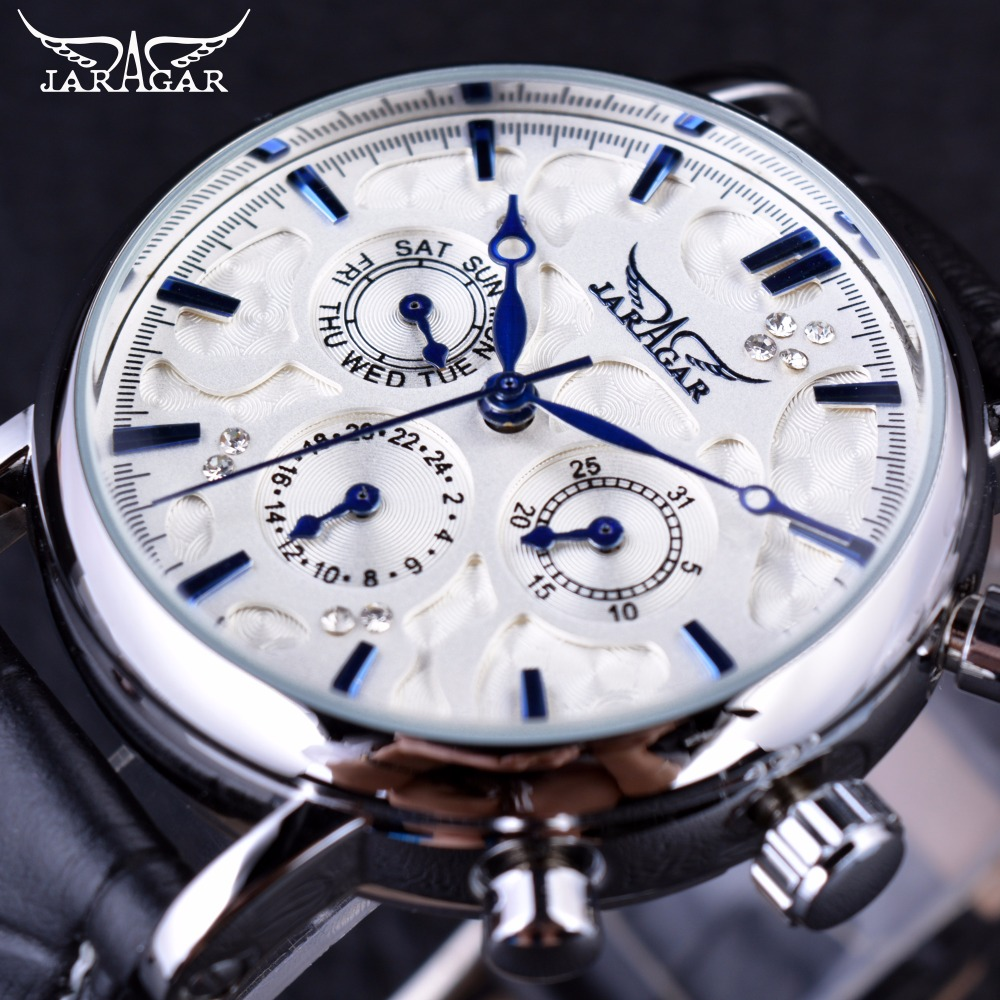 ed76d86458c Jaragar Céu Azul Série Design Elegante Genuína Pulseira de Couro Masculino  Relógio de Pulso Mens Relógios Top Marca de Luxo Homens Relógio Automático