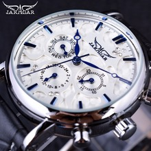 Jaragar relógio masculino, relógio de pulso automático de couro genuíno, design elegante, série céu azul para homens
