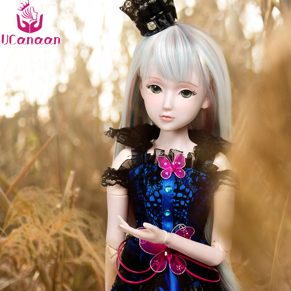 Ucanaan 1/3 BJD Girl Doll 19 Joints With All Outfit Clothes Shoes Wig Makeup Dolls For Girls Collection Birthday Gift Kids Toys cool slim leather one piece garment outfit for bjd doll sd10 sd13 sd16 sd17 uncle ip eid doll clothes lf11