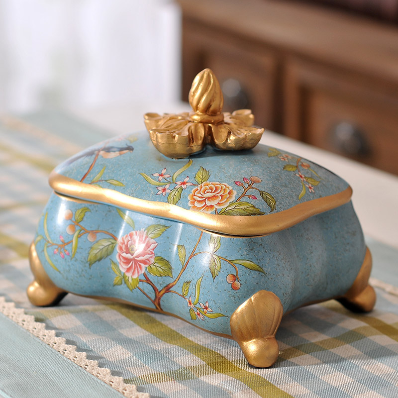 European Garden antique jewelry box jewelry ornaments American country Home Furnishing ceramic decoration box