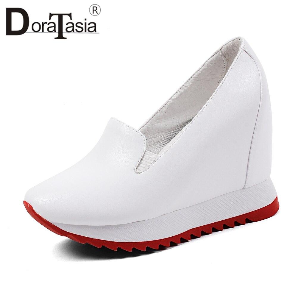 DORATASIA エレガントな高さの増加スニーカー女性本革ローファー女性秋 2019 プラットフォームシューズの女性 32 40  グループ上の 靴 からの レディースフラット の中 1
