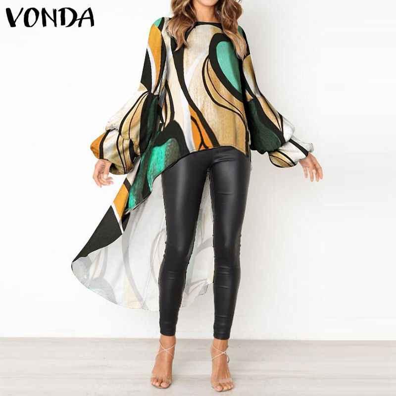 VONDA/Женская блузка, рубашка 2019, осенняя, сексуальная, для беременных, винтажная, с асимметричным подолом, с длинными рукавами, с принтом, топы для беременных, Blusas Femininas 5XL