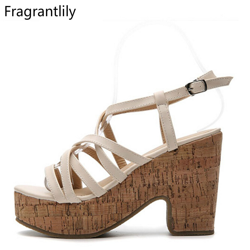 Fragrantlily 2018 summer women The new word buckle waterproof platform simple fashion thick with high-heeled Roman woman shoes