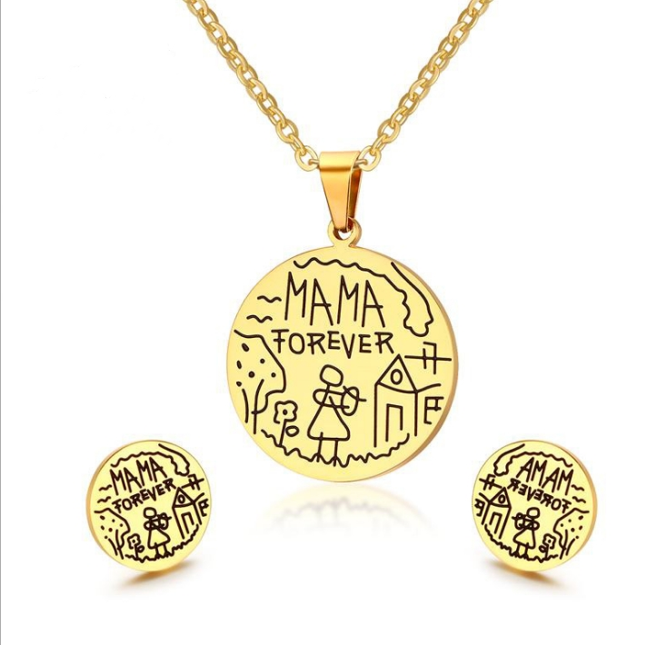 Stainless Steel Round Tag Smybol MAMA FOREVER Necklace and Ear Studs