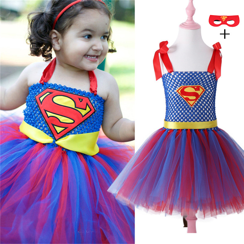 Superman Batman Girls Cosplay Tutu Dress with Mask Super Hero Inspired Baby Costume Kids Cosplay Christmas Halloween Tutu Dress