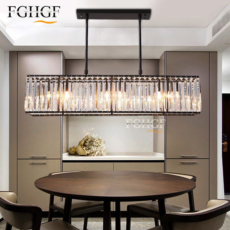 Modern Crystal Chandelier Light Creative Rectangle Chandelier Lamp Fixture Vintage Style Lustres for Living Room Kitchen