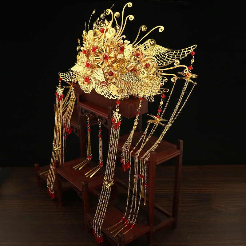JaneVini ใหม่หรูหราทองจีนงานแต่งงานมงกุฎต่างหูโบราณเจ้าสาว Hairpin ยาวพู่เครื่องประดับงานแต่งงานเครื่องประดับผม