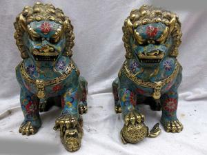 China handmade bronze gild blue Cloisonne Foo Dogs Lions pair sculpture Statue A(0505)