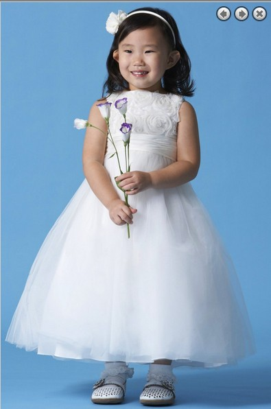 free shipping white for weddings ball gown 2014 handmade bow new pageant cap sleeves Communion gown Lovely   Flower     Girl     Dresses