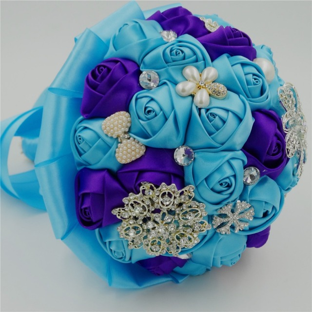 Silk Rose Royal Blue Satin Artificial Wedding Accessories Bridesmaid Beaded Pearl Bridal Bouquet Purple Crysta