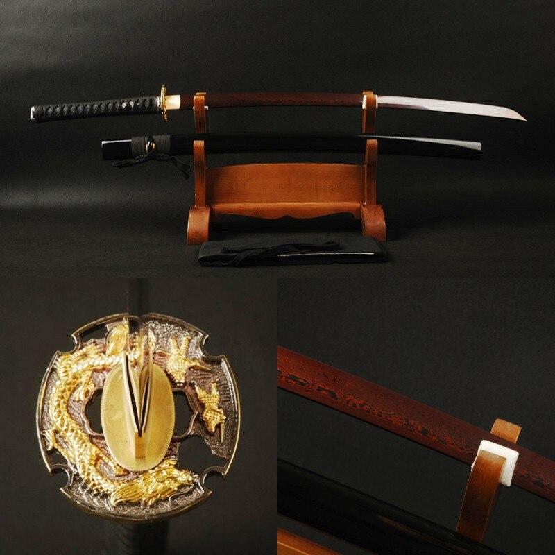 Brandon Swords Handmade Damscus Japanese Katana Full Tang Folded Steel Red Sharp Blade Vintage Metal Home Decoration