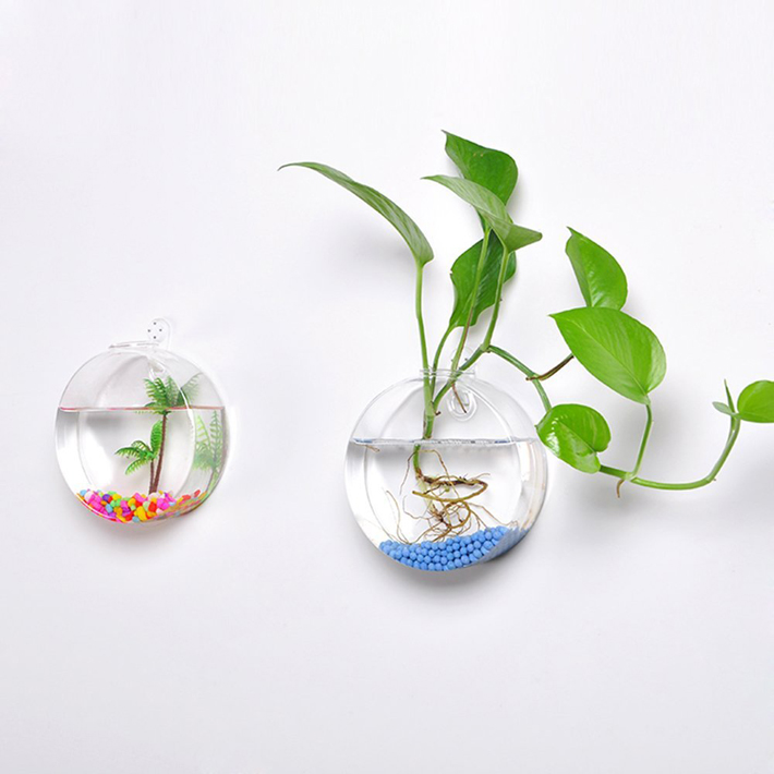 Mkono 2 pcs wall mounted glass vase wall hanging planter for Decoration murale wish