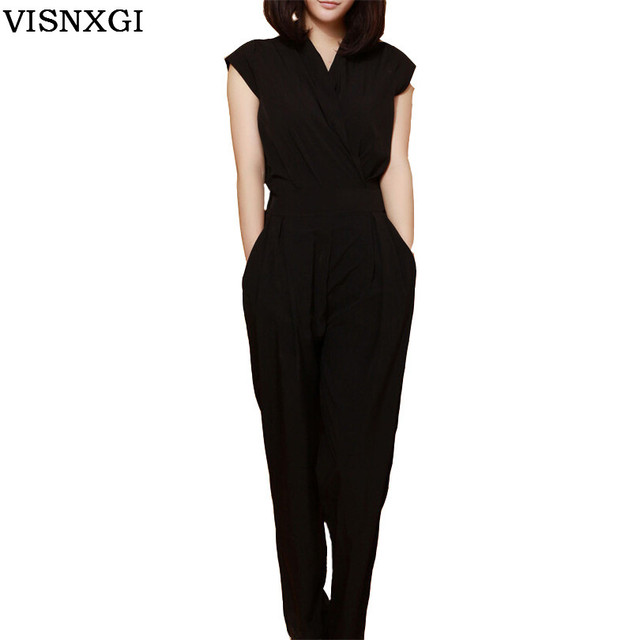 db43e030 Feminino Jumpsuit Female Rompers Womens Sexy Bodycon Chiffon One Piece  Jumpsuits Fashion Solid Overalls For Women Trousers S151-in Jumpsuits from  ...