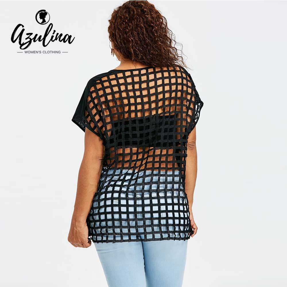 AZULINA Plus Size Batwing Sleeve Lattice Cut T-Shirt 2018 Summer Tops Women T Shirt Chic ...