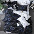 Solstice Home Textile King Queen Twin Bed Linens Black Shooting Star Duvet Cover Sheet Pillowcase Boy Kid Teen Girl Bedding Sets