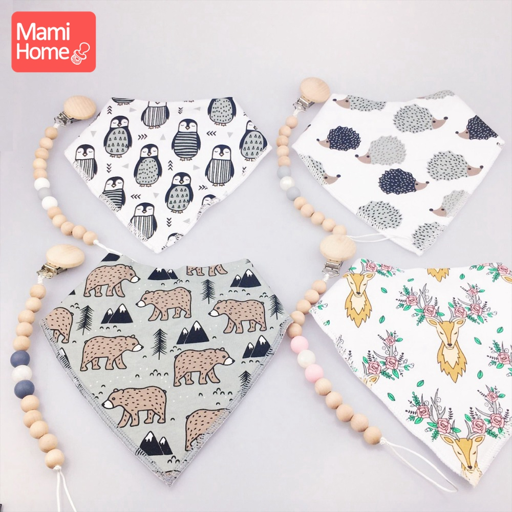 Mamihome 1pc Baby Pacifier Chain Baby Bib Cute Animals BPA Free Wooden Teething Toys Newborn Gifts Handmade Crafts Baby Teether