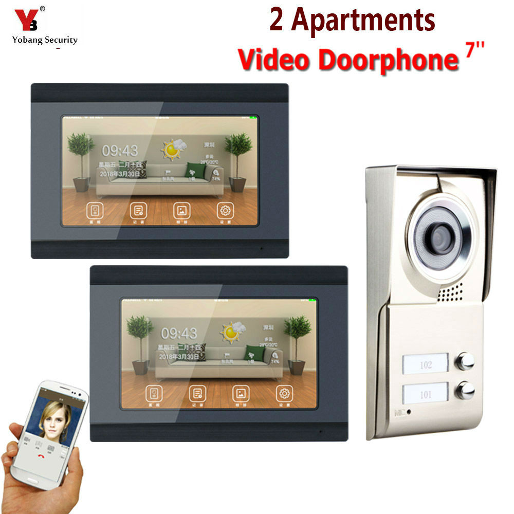 YobangSecurity 7inch Record Wired Wifi 2 Apartment/Family Video Door Phone Intercom System For 2 Units Villa Apartment