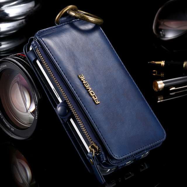FLOVEME Business Wallet Phone Case For Samsung Galaxy Note 9 8 10 Plus Case Zipper Leather Coque For iPhone XS MAX X Case wallet 6