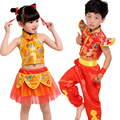 Children's martial arts performance clothing festival Chinese knot costumes kindergarten handkerchief dance performances