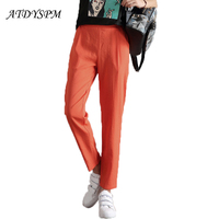 2018 New Fashion Ice Silk Cotton Linen Pants Women Large Size Korean Loose Casual Wild Nine