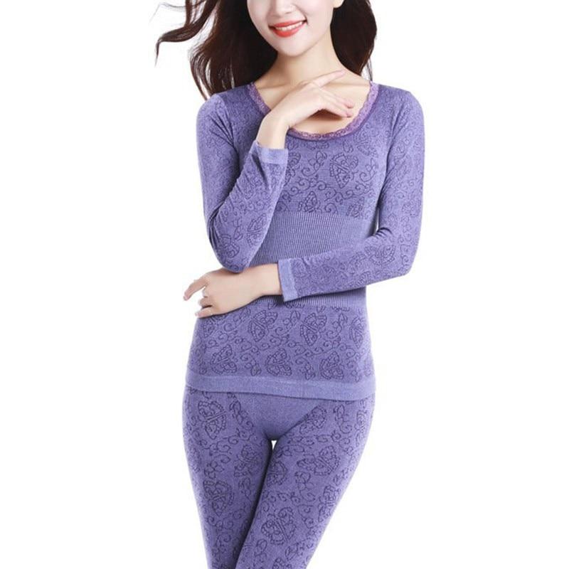 Sexy Ladies Thermal Underwears Seamless Antibacterial Warm Long Johns Women Body Shaped Underwear Sets