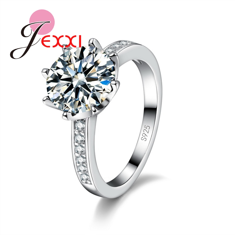 JEXXI Charm Women Finger Rings With Shiny Colorful Crystal Cubiz Zircon Ladies 925 Sterling Silver Ring High Quality Jewelry