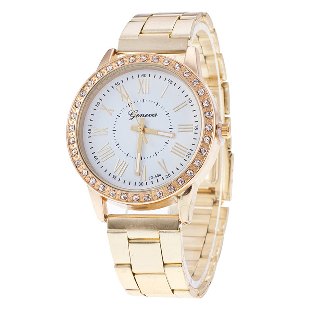 2018 Luxury Women Watches geneva Crystal Stainless Steel Quartz Analog Wrist Watch Fashion Watch Ladies Women Watches Golden wavy style fashion stainless steel quartz analog bracelet wrist watch for women golden 1 x 377
