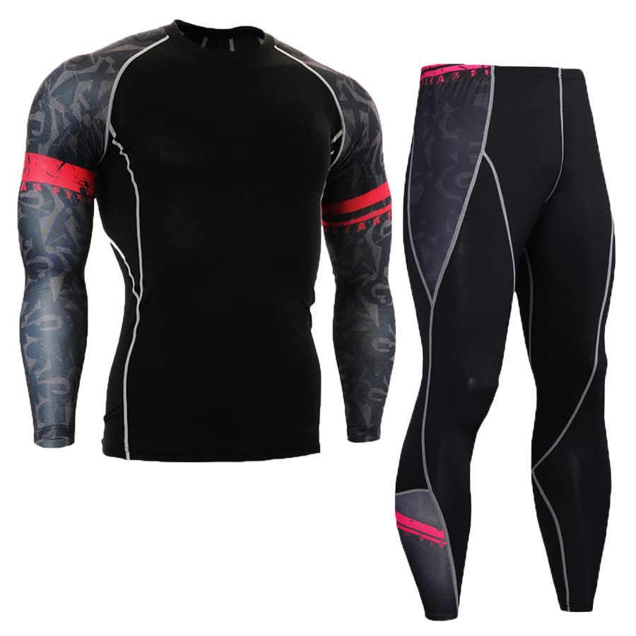 0d001382b8a29 Conjuntos deportivos para hombres camiseta para correr traje de culturismo  medias de compresión MMA Rashgard Punisher