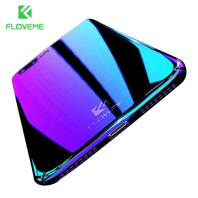 FLOVEME Cases For iPhone 7 7 Plus Case For Apple iPhone 6 6S 6 Plus Transparent Hard Clear Cover Gradien Blue light Ultra Thin