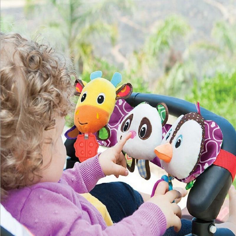 0-12 hónap pingvinek Baby orosz és angol stílusú játékok One Piece lógó zenei kiságy Mobiltelefonok Baby Lathe Cartoon Rattle