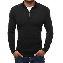SHUJIN Spring Sweater Men Casual Stand Collar Zipper Sweater Male Fashion Solid Slim Fit Knitted Sweaters