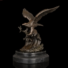100% Real Bronze Modern Vintage Brass Eagle Sculptures Statue With Marble Base eagle sculptures  CZW-079