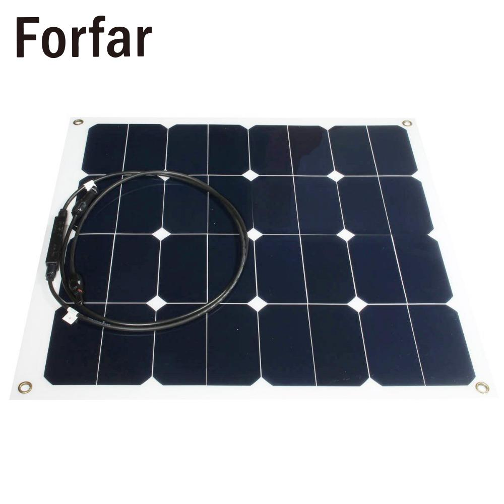 Forfar Outdool Efficiency 12v 50w Sunpower Soft Semi Flexible Solar Panel Monocrystalline Tool