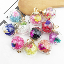10pcs 16mm Transparent Glass Ball Charms Resin Drill Flower In Pendants Finding Fit Earring Hair Jewelry Accessories YZ421